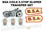 BSA H30-8 557cc 1930 Transfer Decal Set